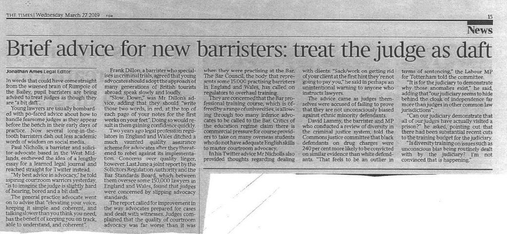 """Kort advies UK barrister aan jonge pleiters: """"Behandel de rechter als een beetje gek"""""""